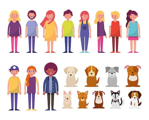 Grupo de jovens e personagens de cães