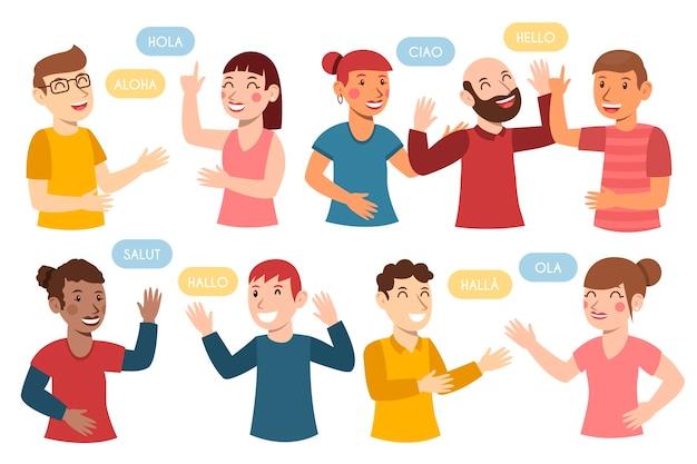 Grupo de jovens falando em diferentes idiomas