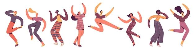 Grupo de jovens felizes dançando. dançarinos masculinos e femininos isolados no fundo branco. sorrindo, rapazes e moças desfrutando da festa de dança. ilustração em estilo apartamento moderno. Vetor Premium