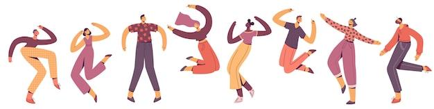 Grupo de jovens felizes dançando. dançarinos masculinos e femininos isolados no fundo branco. sorrindo, rapazes e moças desfrutando da festa de dança. ilustração em estilo apartamento moderno.