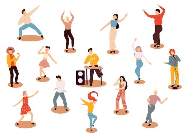 Grupo de jovens felizes dançando pessoas isoladas. homens novos e mulheres de sorriso que apreciam o dance party. ilustração colorida em estilo cartoon plana.