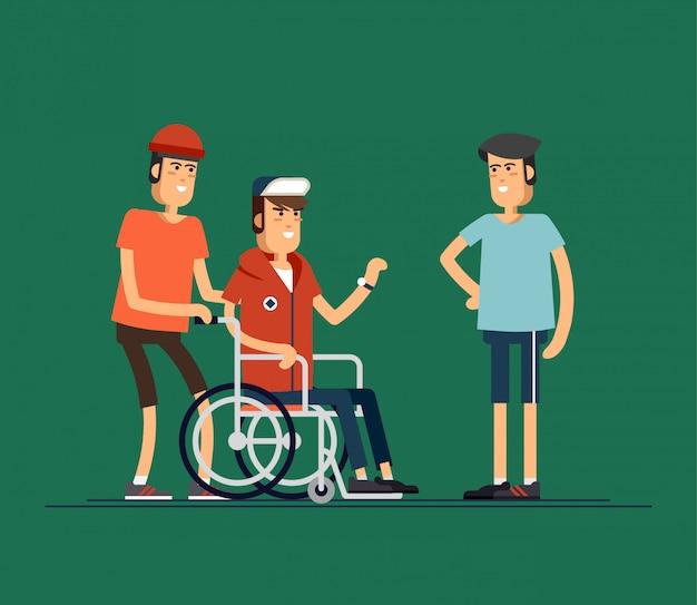 Grupo de jovens felizes se comunicar. cuidando do conceito de pessoas com deficiência. ilustração
