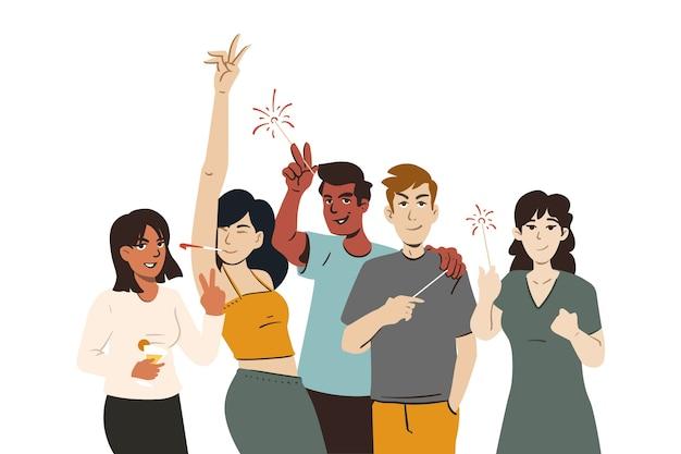 Grupo de jovens festejando memória