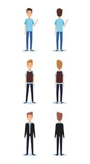 Grupo de jovens homens coloca estilos vector ilustração design