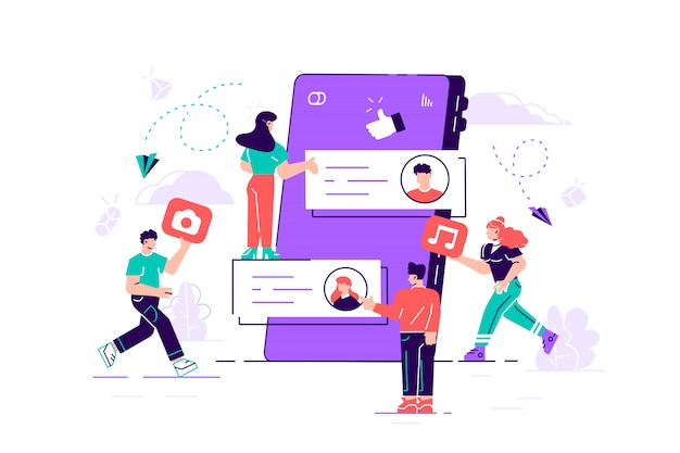 Grupo de jovens, homens e mulheres e smartphone gigante com postagens na tela. conceito de criação de conteúdo na internet e compartilhamento em mídias sociais, blogs e microblogging. ilustração plana moderna.
