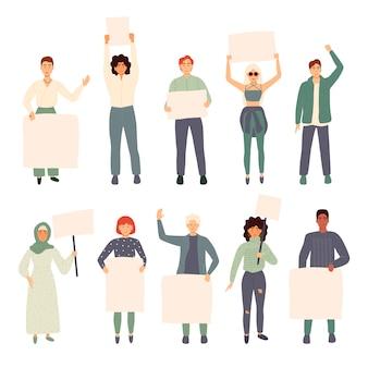 Grupo de jovens, homens e mulheres juntos e segurando a bandeira em branco. pessoas participando de desfile ou comício. manifestantes ou ativistas masculinos e femininos. ilustração colorida dos desenhos animados plana