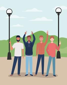 Grupo de jovens inter-raciais nos personagens do parque