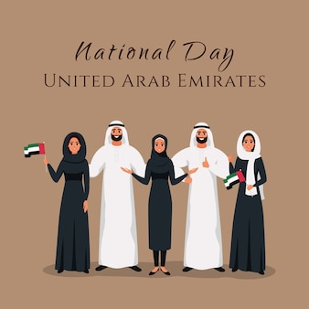 Grupo de jovens muçulmanos em pé juntos na celebração do dia nacional nos emirados árabes unidos