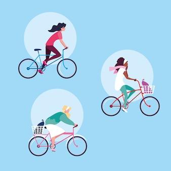 Grupo de jovens mulheres andando de personagem de avatar de bicicleta