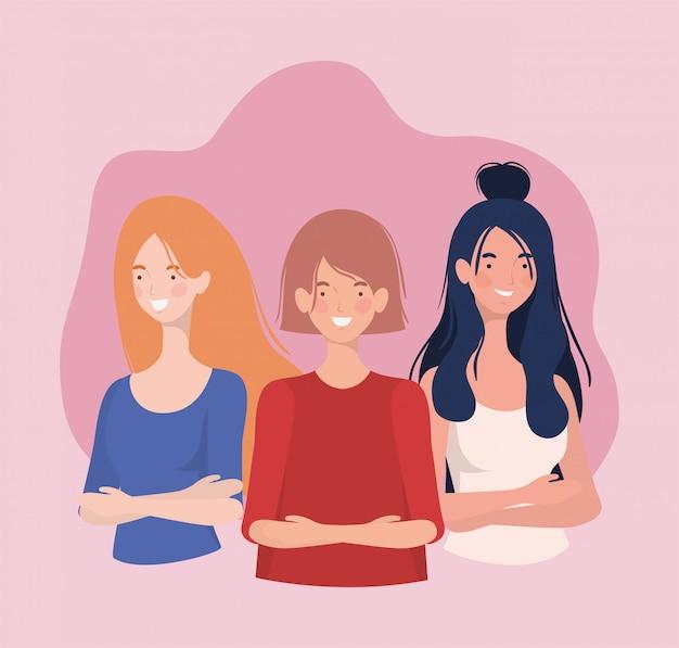Grupo de jovens mulheres em pé caracteres