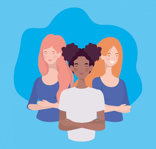 Grupo de jovens mulheres interraciais em pé caracteres
