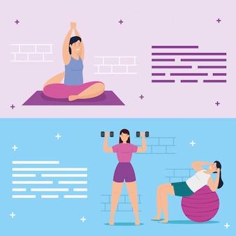 Grupo de jovens mulheres praticando exercício