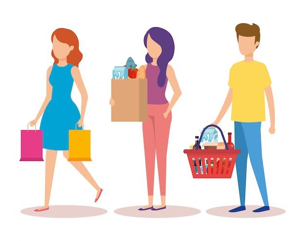 Grupo de jovens personagens de compras