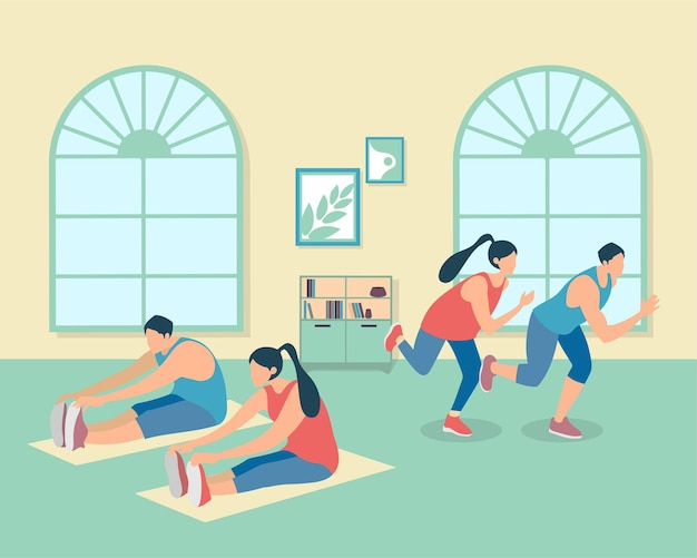 Grupo de jovens saudáveis praticando ioga. ilustração vetorial.
