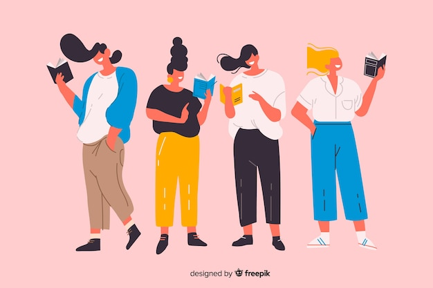 Grupo de jovens tempo de palestra ilustrado