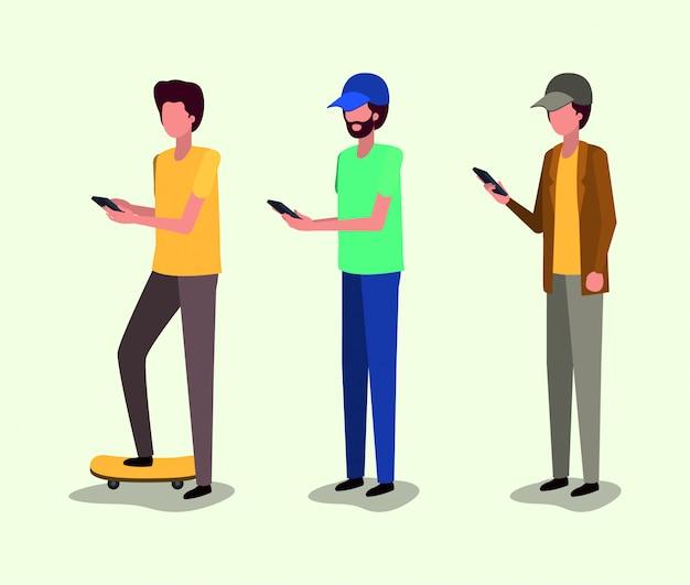 Grupo de jovens usando smartphone