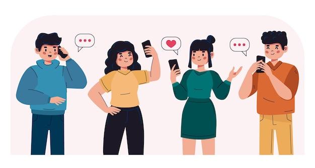 Grupo de jovens usando smartphones