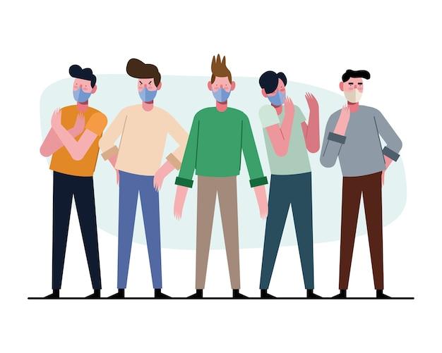 Grupo de jovens vestindo máscaras médicas ilustração de personagens