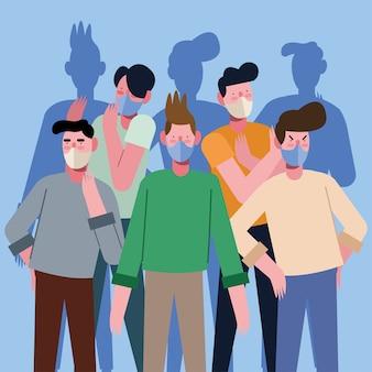 Grupo de jovens vestindo máscaras médicas ilustração design