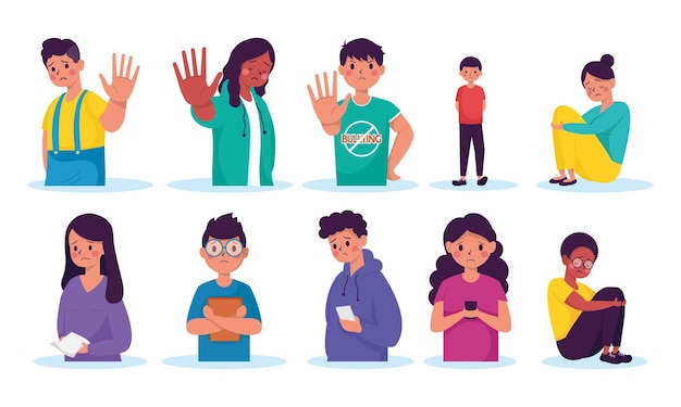 Grupo de jovens vítimas de bullying