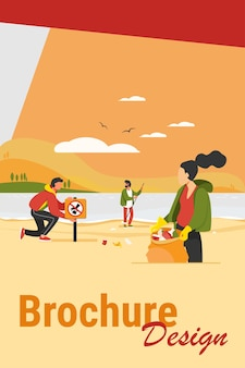 Grupo de jovens voluntários coletando lixo na ilustração em vetor plana ocean beach. ecologia e conceito de planeta limpo. pessoas limpando a natureza do ambiente juntas