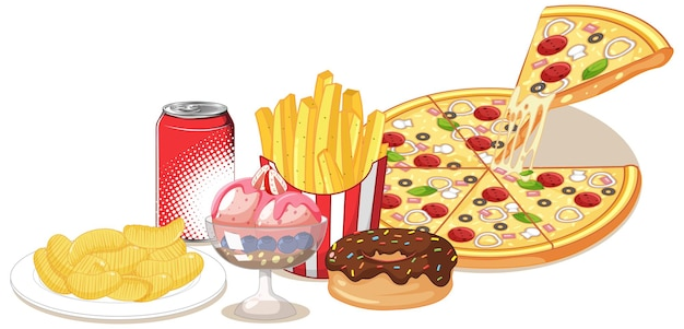 Grupo de junk food e doce isolado no branco
