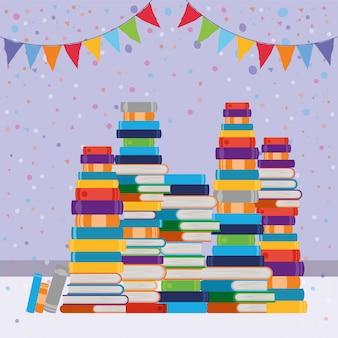 Grupo de livros e bandeirola