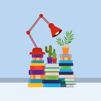 Grupo de livros e lâmpada