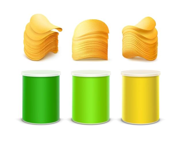 Grupo de luz colorida - tin box container tube pequeno verde amarelo para o projeto de pacote com a pilha de batatas fritas friáveis fecha-se isolado acima no fundo branco.