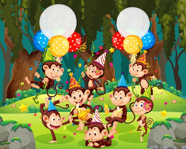 Grupo de macacos em personagem de desenho animado com tema de festa na floresta