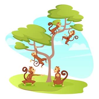 Grupo de macacos engraçados brincando na árvore, primatas
