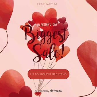 Grupo de mão desenhada de venda de dia dos namorados de balões