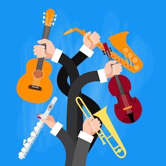 Grupo de mãos segurando instrumentos musicais