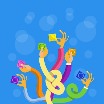 Grupo de mãos segurando preservativos aids, contraceptivos