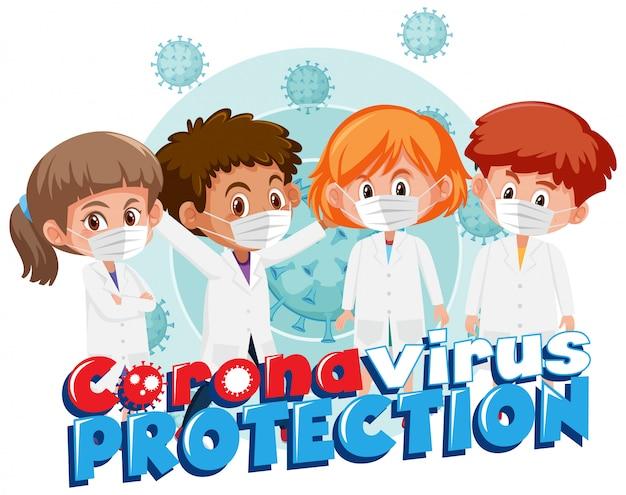 Grupo de médico com sinal de vírus corona