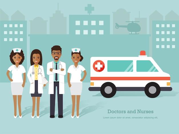 Grupo de médicos africanos e enfermeiros e pessoal médico.