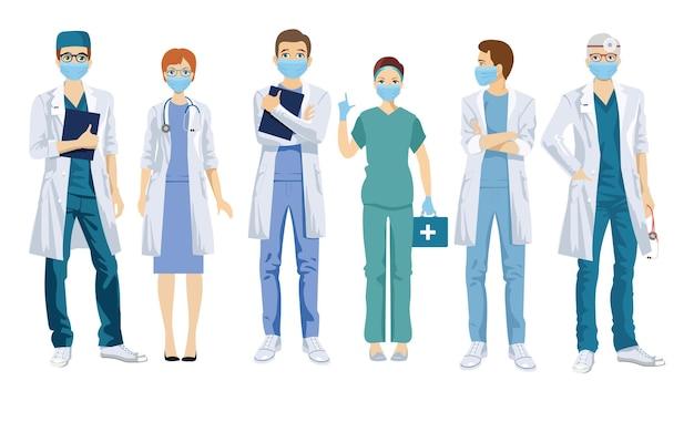 Grupo de médicos com máscaras médicas.