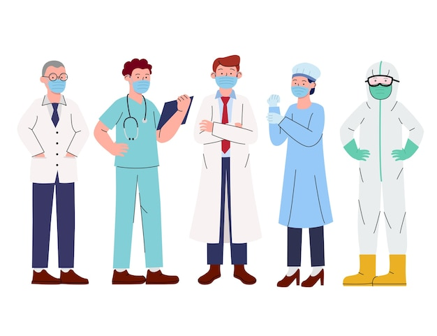 Grupo de médicos da equipe médica usando máscaras faciais
