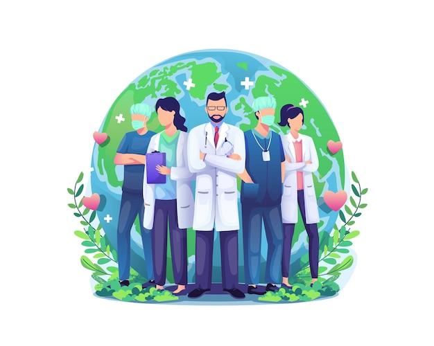 Grupo de médicos e enfermeiras da equipe em frente ao globo terrestre