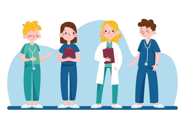 Grupo de médicos e enfermeiras de desenhos animados