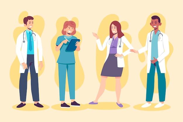 Grupo de médicos e enfermeiras planos orgânicos