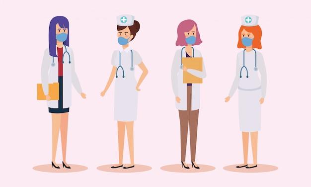 Grupo de médicos e enfermeiros com máscara facial