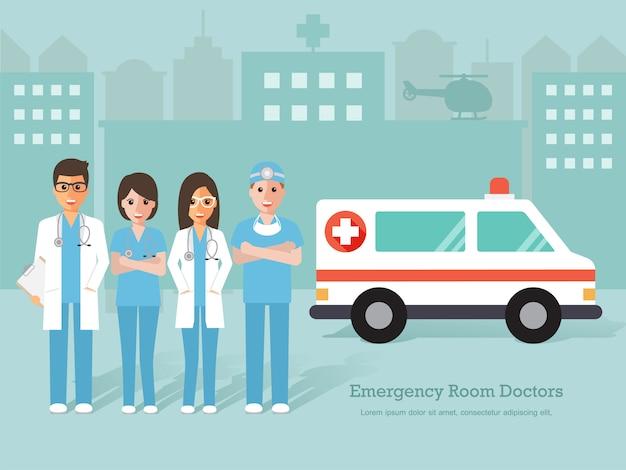 Grupo de médicos e enfermeiros de sala de emergência e equipe médica.