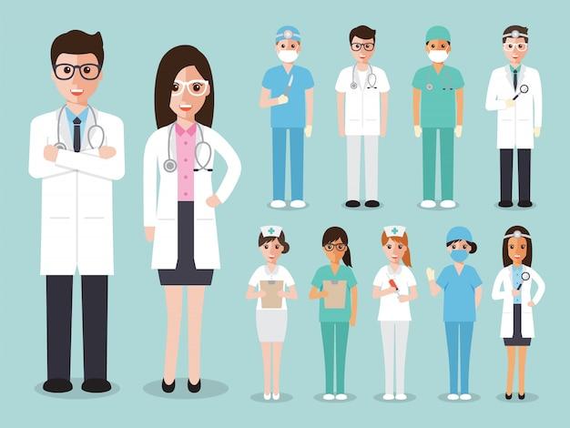 Grupo de médicos e enfermeiros e equipe médica