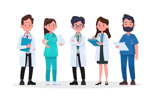 Grupo de médicos e equipe médica. conceito de equipe médica no caráter de pessoas de design plano.