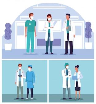 Grupo de médicos equipe usando máscaras médicas no hospital