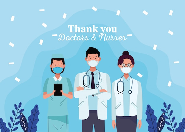 Grupo de médicos funcionários caracteres com thak você mensagem