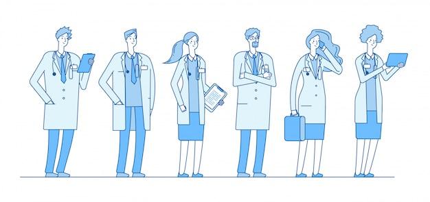 Grupo de médicos. médico medicina trabalhadores pessoas cirurgião enfermeira farmacêutico grupo permanente conceito de saúde hospital