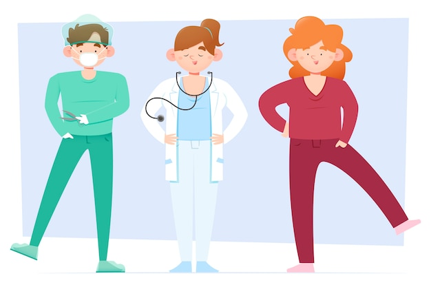 Grupo de médicos profissionais ilustrados