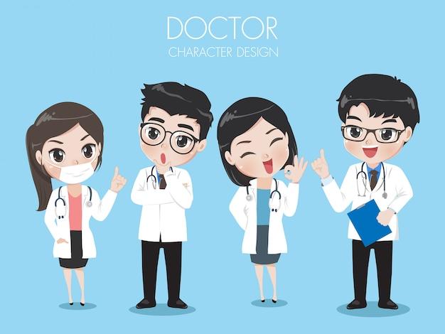 Grupo de médicos usam laboratório de trabalho uniforme.